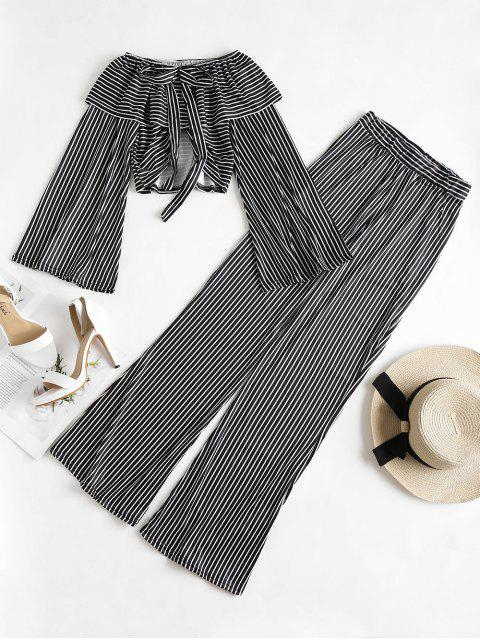 shops Bell Sleeve Crop Top Palazzo Pants Matching Set - BLACK L Mobile