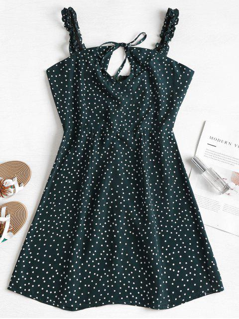 fashion Frilled Strap Polka Dot Mini Skater Dress - MEDIUM SEA GREEN L Mobile