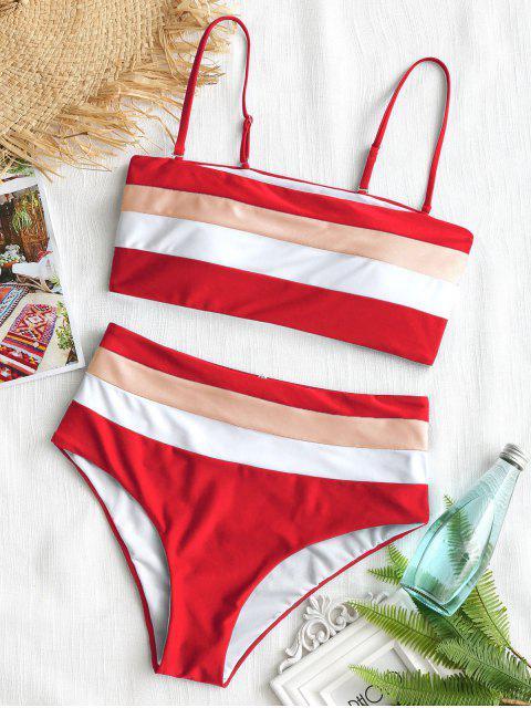 Bikini à taille haute à rayures cami - Rouge S Mobile