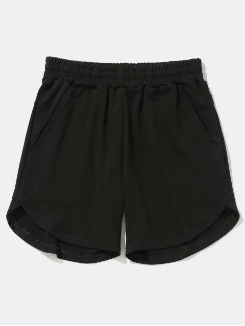 women Solid Color Curved Hem Shorts - BLACK 38 Mobile