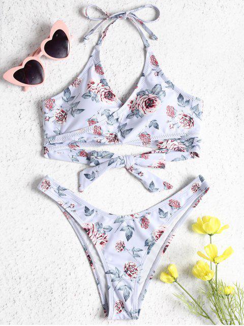 Conjunto de bikini con diseño de estampado rosa - Azul Lavanda S Mobile