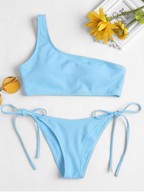 Riemchen Seitlicher Textured Eine Schulter Bikini - Helles Himmelblau S Mobile