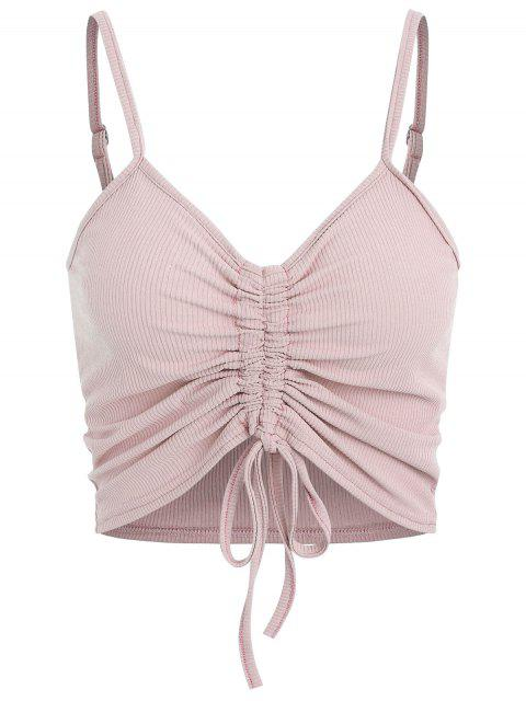 women Drawstring Ruched Crop Cami Top - LIGHT PINK L Mobile