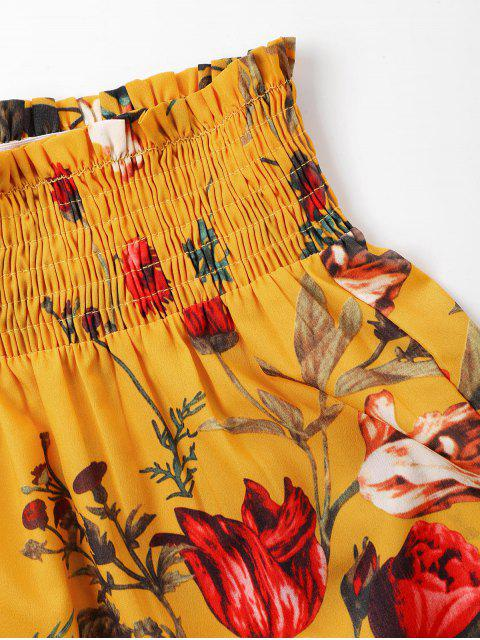 lady Print Halter Top and Shorts Set - BEE YELLOW S Mobile