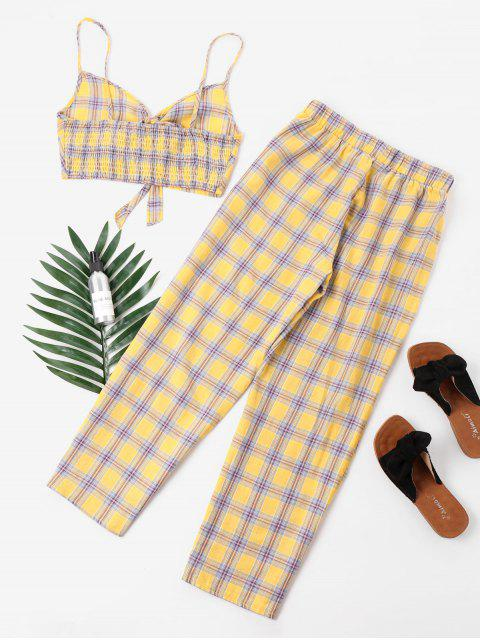 ladies Tartan Knot Camisole and Pants Set - YELLOW XL Mobile