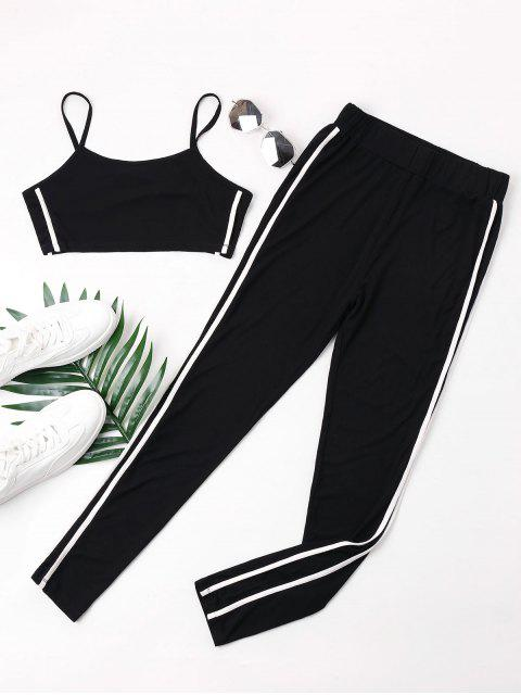women Double Striped Camisole and Pants Set - BLACK XL Mobile