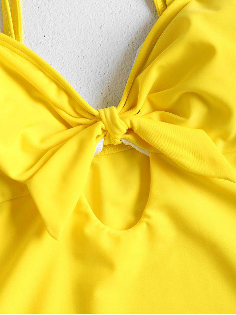 Высокий вырез ноги С бантом Ками Купальник - Жёлтый M Mobile