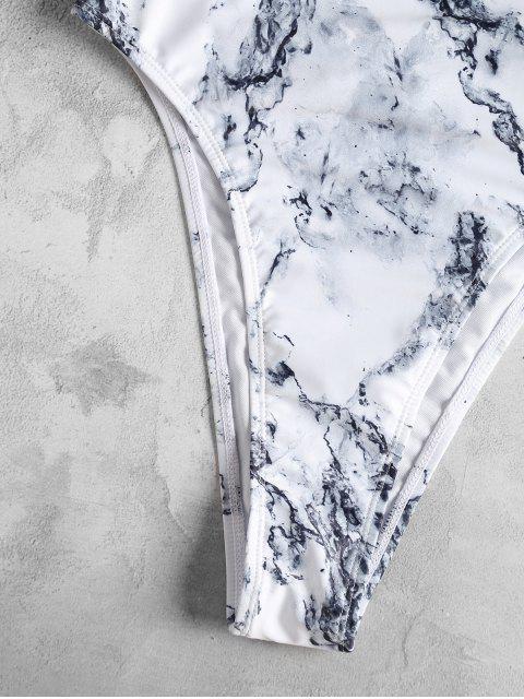 Traje de baño de una pieza de corte alto con estampado de mármol - Blanco L Mobile