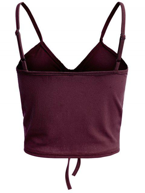 lady Drawstring Ruched Crop Cami Top - RED WINE L Mobile