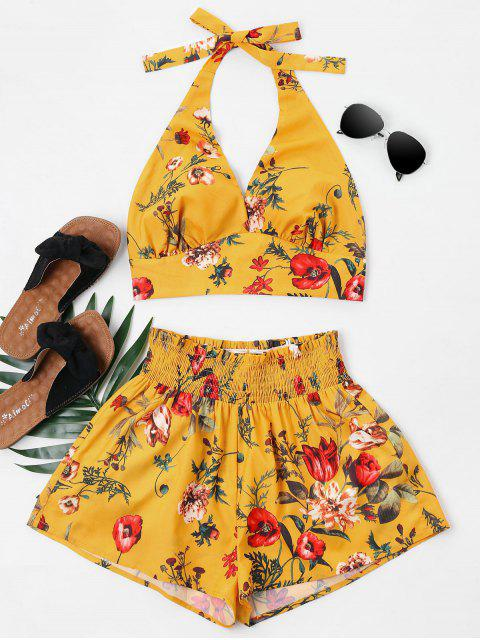 lady Print Halter Bralette Top and Shorts Set - BEE YELLOW S Mobile