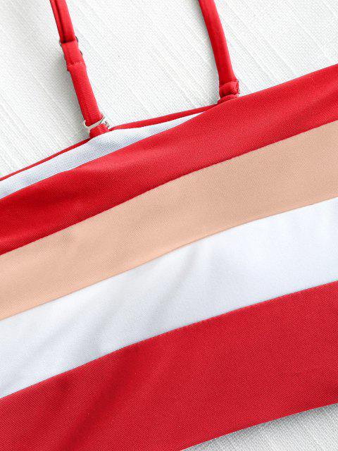 Bikini en Camisole Taille Haute et à Rayures - Rouge L Mobile