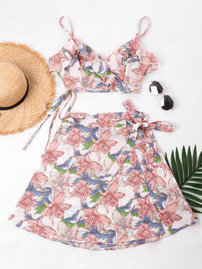 Conjunto Floral Cami Top E Skirt - Rosa Claro Xl