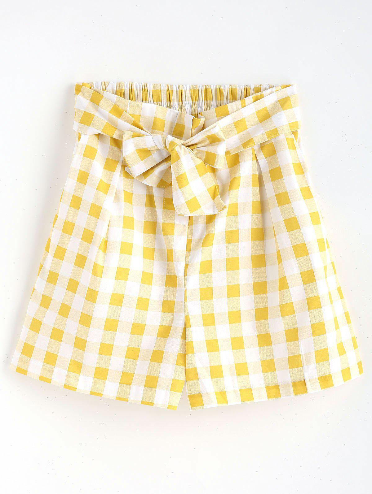 Gingham High Waisted Paper Bag Shorts