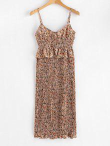 فستان منقوش بالزهور - دب بنى L