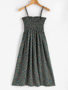 فستان كامي صغير منقوش بالزهور - خنفساء الخضراء Xl