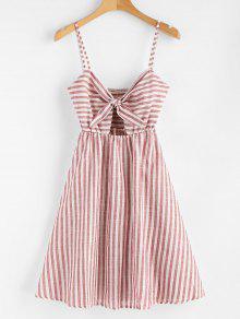 فستان منقوش بخطوط معقود - كستنائي أحمر M