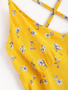 Volantes Ducky Criss Cruzados De Caucho Con S Floral Vestido Amarillo Ewq4ZZ