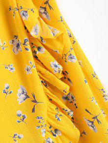 De S Vestido Amarillo Ducky Caucho Con Cruzados Volantes Criss Floral BwgfxqI6wH
