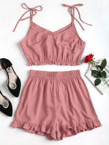 مجموعة شورت الكشكشة - أحمر الشفاه الوردي L