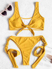 Tie Front Knot High Leg Bikini Set - صن اصفر L