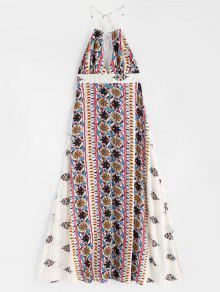 الرسن عارية الذراعين ماكسي فستان الشاطئ - أبيض Xl