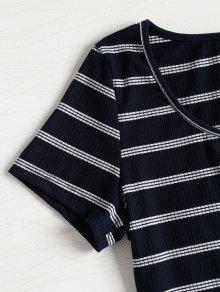 Profundo Y Rayas M Camiseta Con Rayas Azul Recortada tqnYB