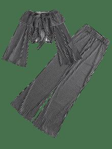 Palazzo Con Alto Negro Manga Cuello Campana De S Conjunto De Pants F6UqI60