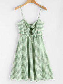 فستان منقوش بخطوط معقود - البرسيم الأخضر L