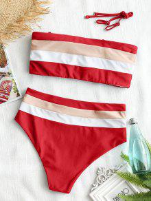 ef1553d65f 31% OFF] [HOT] 2019 Cami Striped High Waisted Bikini In RED | ZAFUL