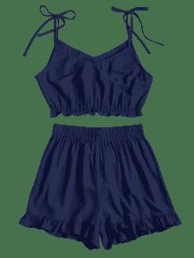 Conjunto Con Volantes Pantalones Cortos Azul Volantes Profundo S Con De PrTq1xP