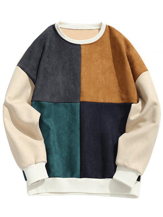 fashion Suede Color Block Crew Neck Sweatshirt Men Clothes - COLORMIX 2XL