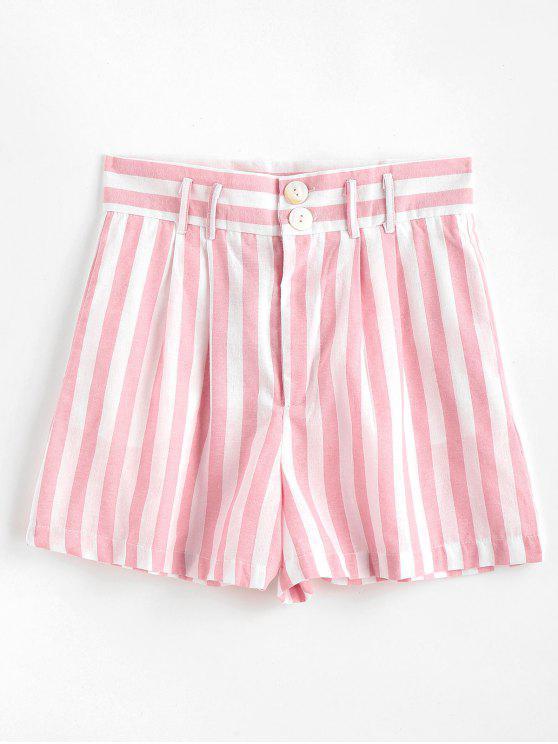 Bolsos laterais listrados calções de cintura alta - Rosa Claro M