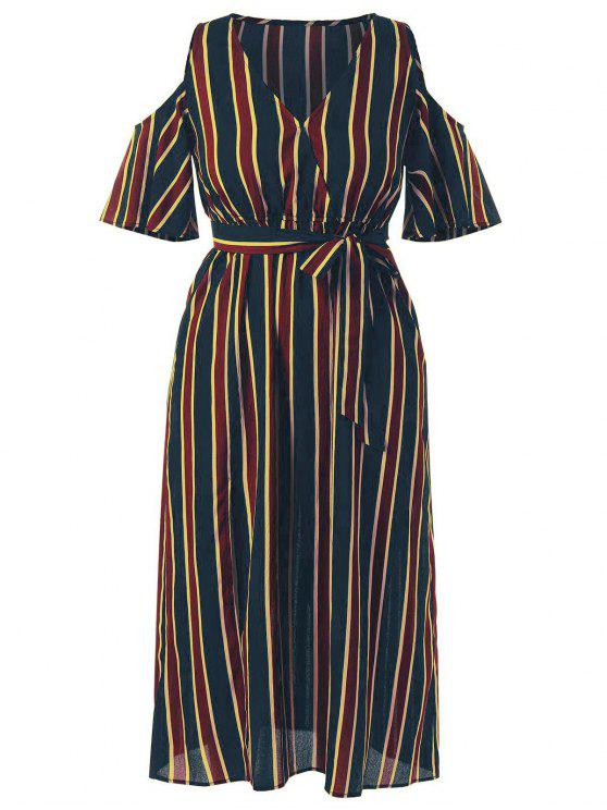 Plus Size Cold Shoulder Striped Maxi Dress MULTI