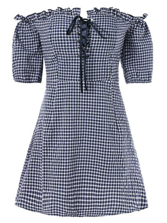 outfits Lace Up Gingham Dress - DARK SLATE BLUE XL