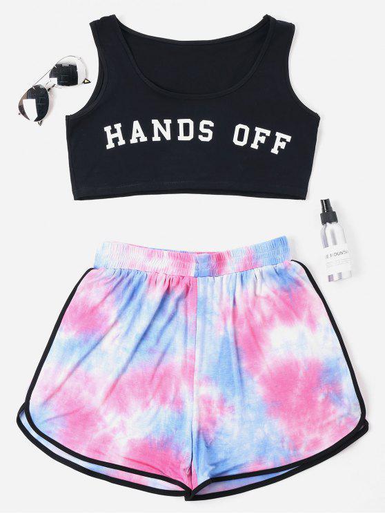 sale Plus Size Tie Dye Shorts Set - BLACK 3X