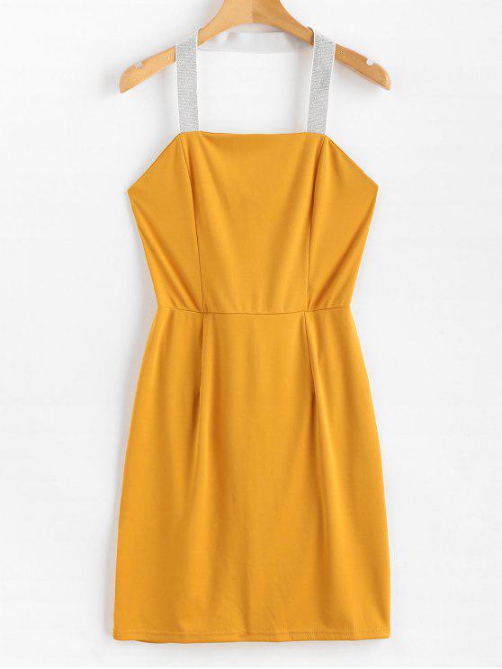 Mini vestido de bodycon correa halter brillante - Caucho Ducky Amarillo XL