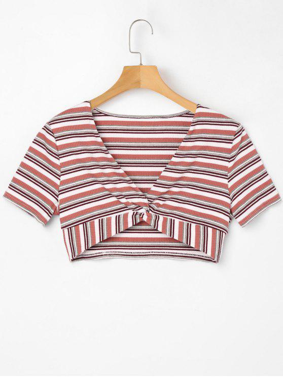 Camiseta de corte bajo con rayas de rayas - Rosa Claro M