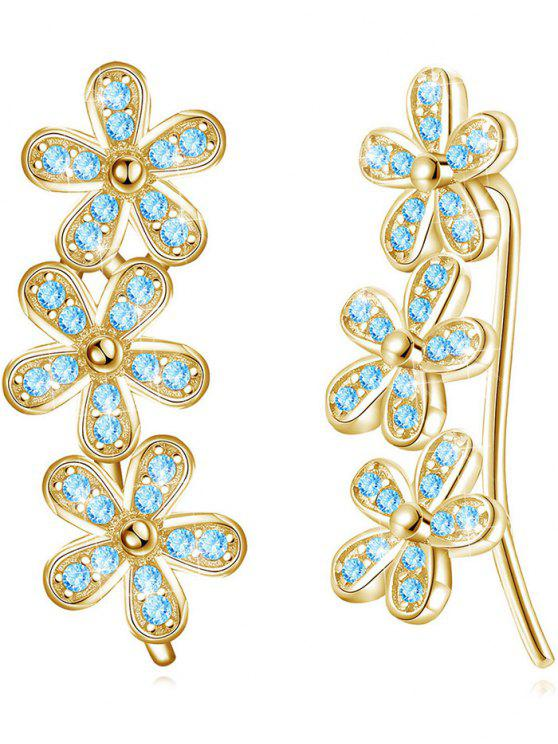 chic Colored Crystal Floral Wedding Drop Earrings - BLUE LAGOON