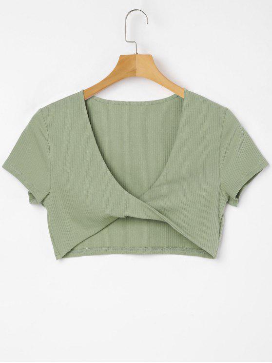 T-Shirt A Torsione Con Scollo Profondo - Verde Iguana  XL