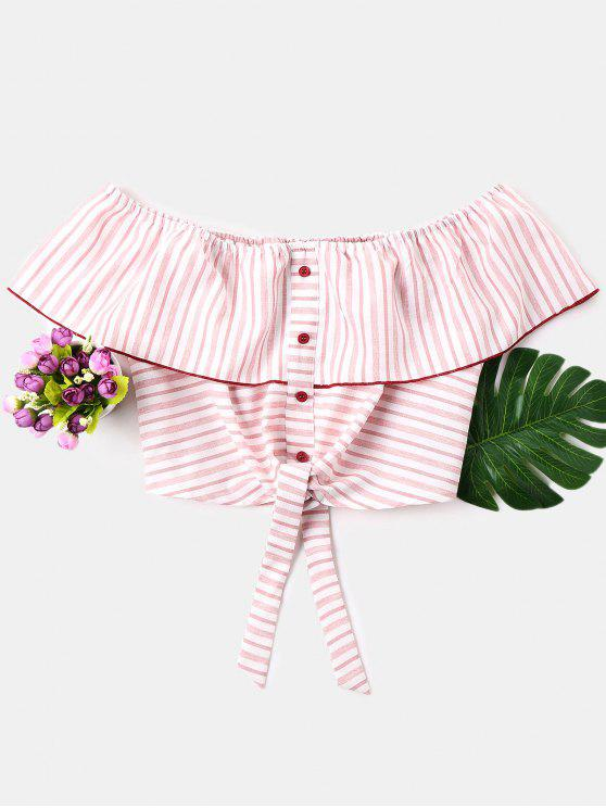 affordable Buttons Off Shoulder Striped Blouse - PIG PINK XL