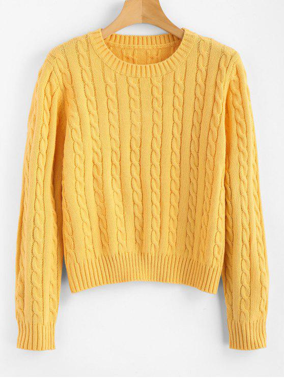 lady Cable Knit Pullover Sweater - YELLOW S