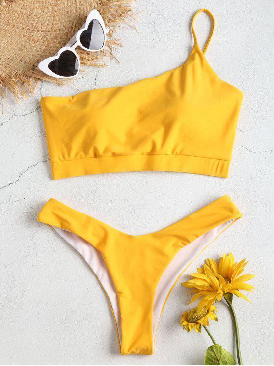 Conjunto de Bikini de pierna alta de un solo hombro - Amarillo Brillante M