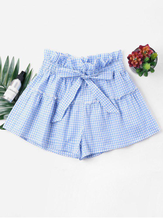chic Bowknot Gingham Shorts - SKY BLUE L