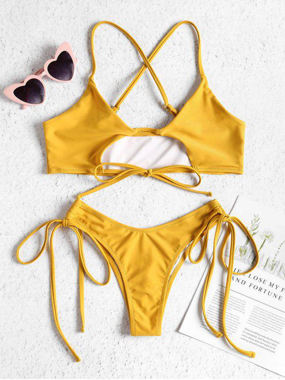 outfit Cutout Tie Side Bralette Bikini Set - SUN YELLOW L