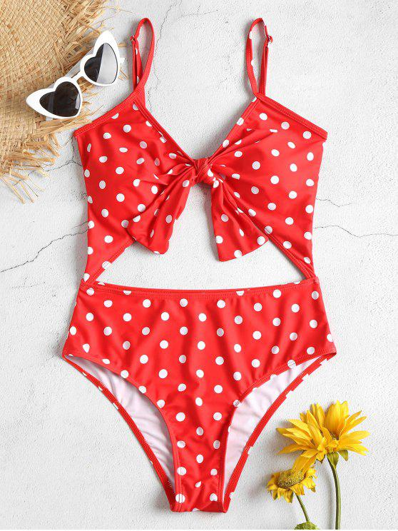 outfits Cut Out High Leg Polka Dot Swimsuit - RED L