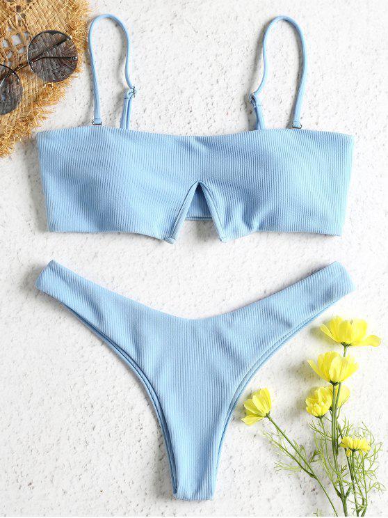 outfits Ribbed Inverted V-Wired Bikini Set - LIGHT SKY BLUE S