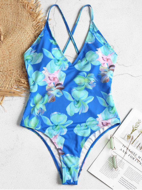 Maillot De Bain Une Pièce Imprimé Florale Rembouré - Bleu Royal M