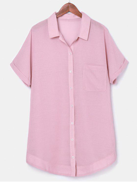 lady Button Up Striped Pocket Dress - LIGHT PINK S