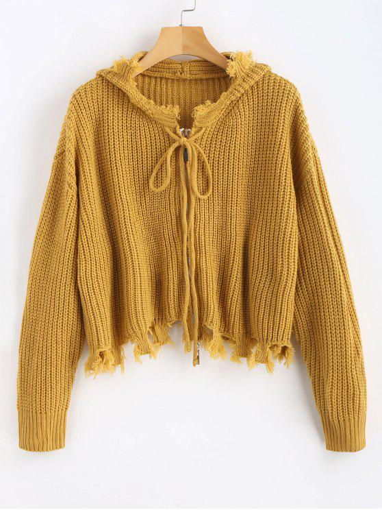 new Frayed Hem Hooded Cardigan - GOLDEN BROWN S
