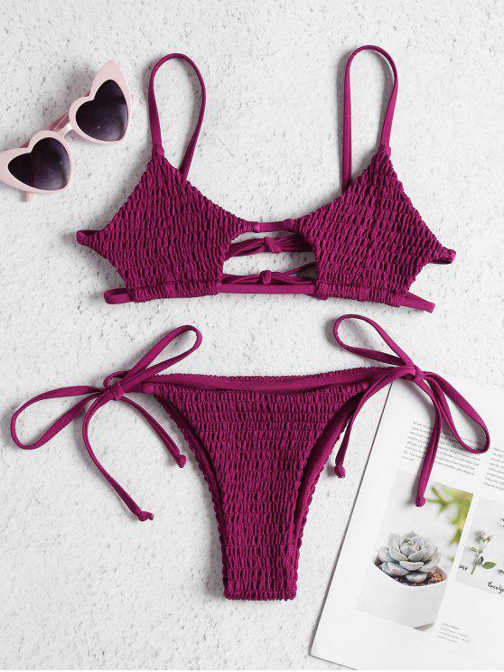 085a8abe0ad10 22% OFF  2019 ZAFUL Keyhole Smocked String Bikini In BASHFUL PINK L ...